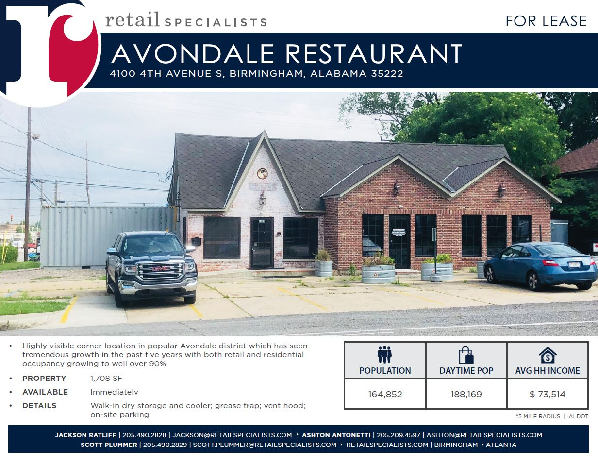 AVONDALE RESTAURANT / FOR LEASE