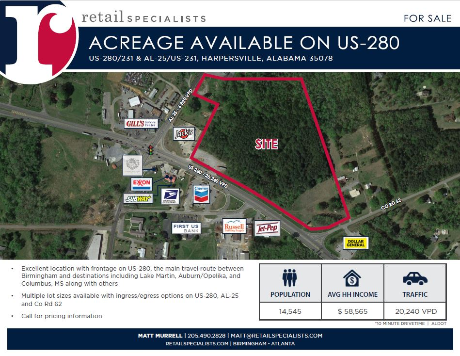ACREAGE AVAILABLE ON US-280