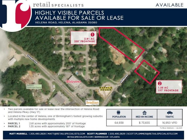 HIGHLY VISIBLE PARCELS AVAILABLE FOR SALE OR LEASE